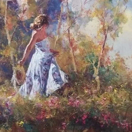 (CreativeWork) 'PLEASANT AFTERNOON' -  by ROBERT HAGAN  Romantic Series by Robert Hagan. Oil Paint. Shop online at Bluethumb.