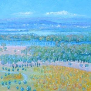 (CreativeWork) CANBERRA FROM THE ARBORETUM by Jan Matson. oil-painting. Shop online at Bluethumb.