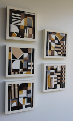 (CreativeWork) Cubika series 5 ( 5 of 5 artworks ) by Chermaine Thompson. Acrylic Paint. Shop online at Bluethumb.