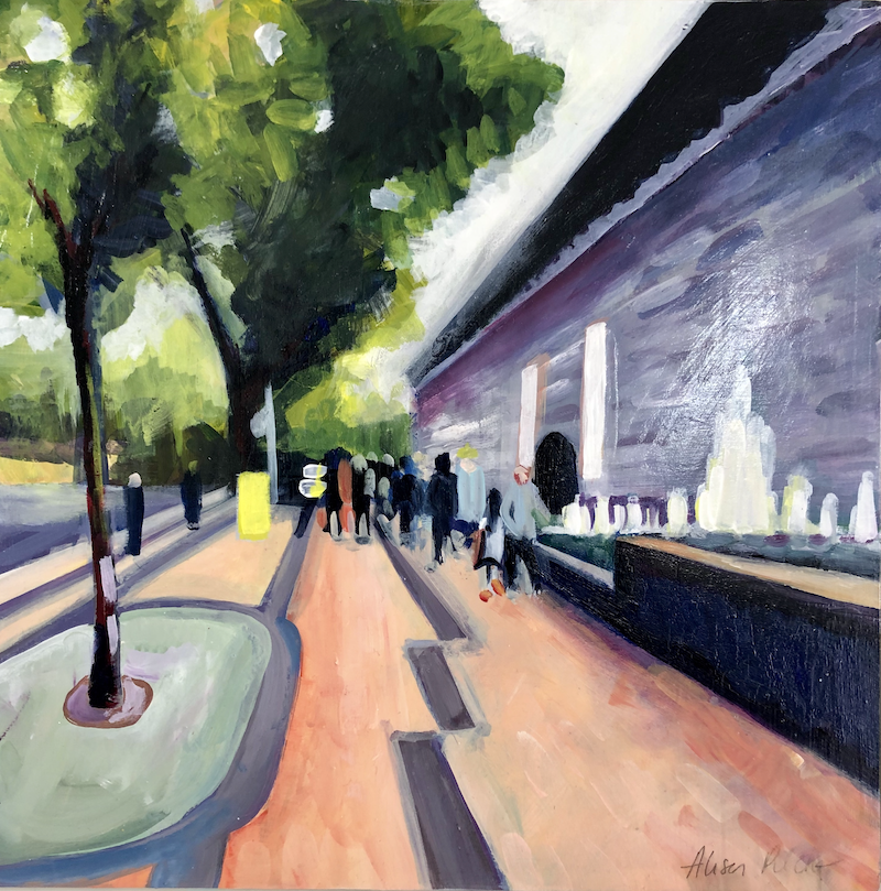 (CreativeWork) On our way to the NGV by Alison Pilcher. arcylic-painting. Shop online at Bluethumb.