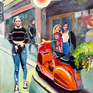 (CreativeWork) Orange Scooter in Melbourne Laneway by Alison Pilcher. arcylic-painting. Shop online at Bluethumb.