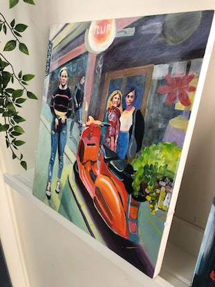 (CreativeWork) Orange Scooter in Melbourne Laneway by Alison Pilcher. Acrylic Paint. Shop online at Bluethumb.