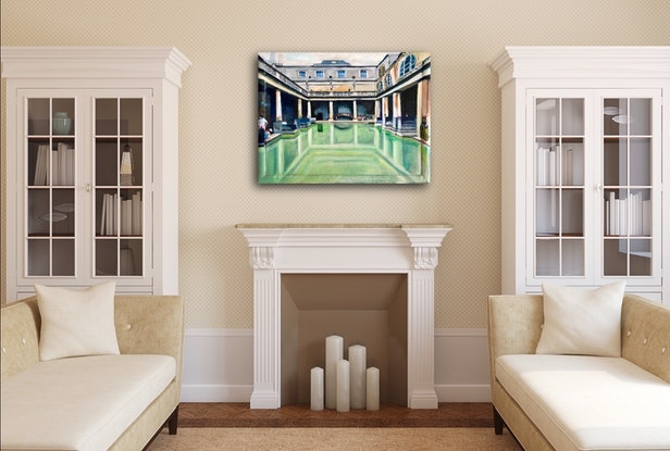 (CreativeWork) Reflections at the Roman Baths by Alison Pilcher. Acrylic Paint. Shop online at Bluethumb.