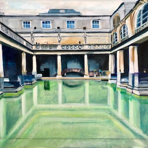 (CreativeWork) Reflections at the Roman Baths by Alison Pilcher. arcylic-painting. Shop online at Bluethumb.