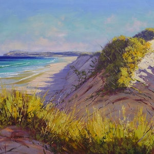 (CreativeWork) Central coast dunes  by Graham Gercken. oil-painting. Shop online at Bluethumb.