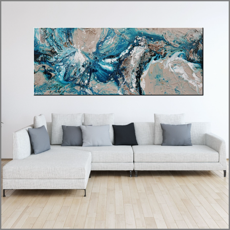 (CreativeWork) Honey & Teal 200cm x 80cm Blue teal Cream Textured Acrylic Abstract Gloss Finish FRANKO  by _Franko _. arcylic-painting. Shop online at Bluethumb.