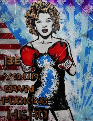 (CreativeWork) Your own Hero 140cm x 180cm HUGE Marilyn Monroe Boxing Textured  Pop art FRANKO by _Franko _. Mixed Media. Shop online at Bluethumb.