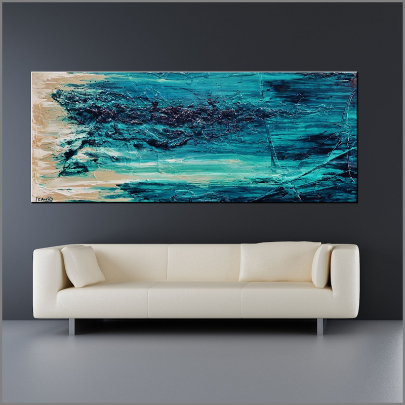(CreativeWork) Malted Rush 200cm x 80cm turquoise Cream Textured Acrylic Abstract Gloss Finish FRANKO by _Franko _. arcylic-painting. Shop online at Bluethumb.