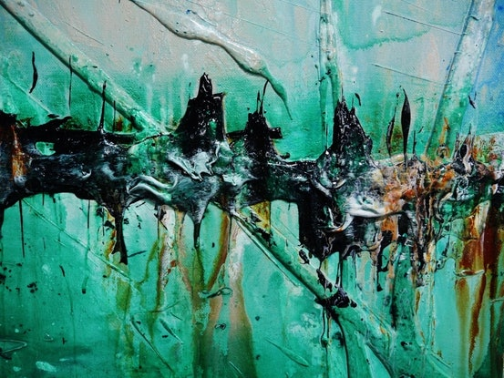 (CreativeWork) Nature 240cm x 100cm Green Blue Textured Acrylic Abstract Gloss Finish FRANKO by _Franko _. #<Filter:0x00007fd8881dd6f8>. Shop online at Bluethumb.