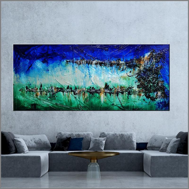 (CreativeWork) Nature 240cm x 100cm Green Blue Textured Acrylic Abstract Gloss Finish FRANKO by _Franko _. arcylic-painting. Shop online at Bluethumb.