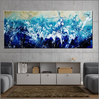 (CreativeWork) Oceanic Substance 240cm x 100cm Cream Blue White Textured Acrylic Abstract Gloss Finish FRANKO by _Franko _. Acrylic Paint. Shop online at Bluethumb.