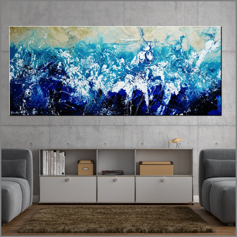 (CreativeWork) Oceanic Substance 240cm x 100cm Cream Blue White Textured Acrylic Abstract Gloss Finish FRANKO by _Franko _. acrylic-painting. Shop online at Bluethumb.