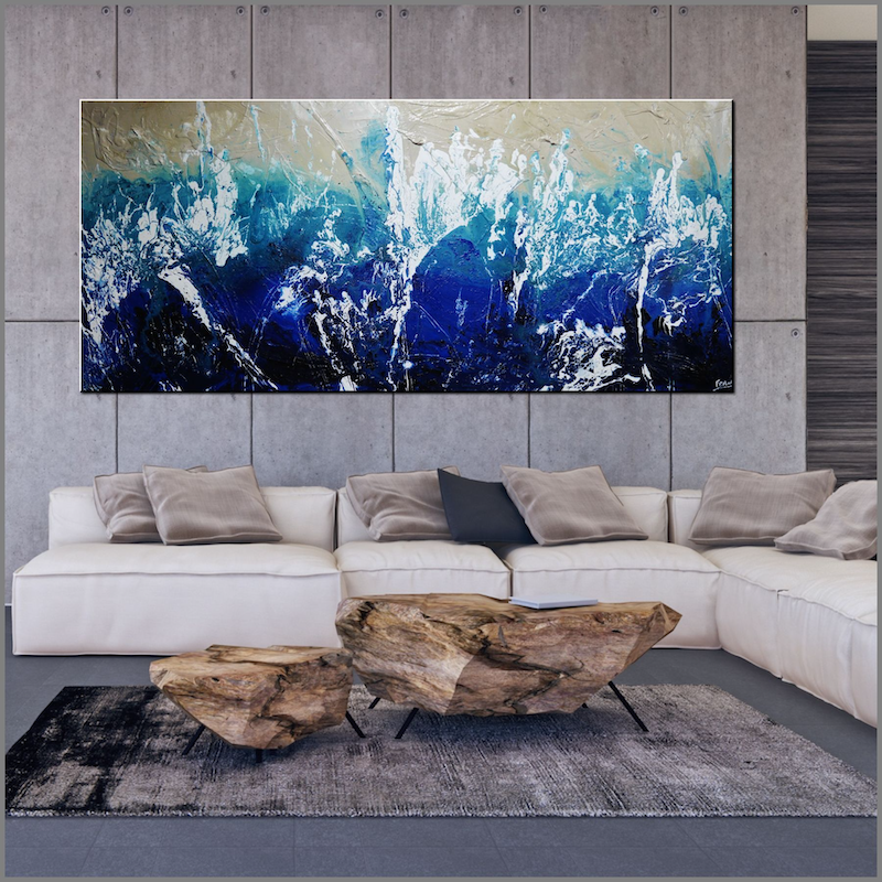 (CreativeWork) Beaches 270cm x 120cm Cream Blue White Textured Acrylic Abstract Gloss Finish FRANKO by _Franko _. Acrylic Paint. Shop online at Bluethumb.