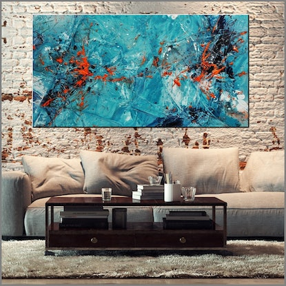 (CreativeWork) Candy Oranges 190cm x 100cm Blue Orange Textured Acrylic Abstract Gloss Finish FRANKO by _Franko _. Acrylic Paint. Shop online at Bluethumb.