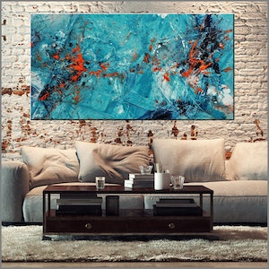 (CreativeWork) Candy Oranges 190cm x 100cm Blue Orange Textured Acrylic Abstract Gloss Finish FRANKO by _Franko _. arcylic-painting. Shop online at Bluethumb.