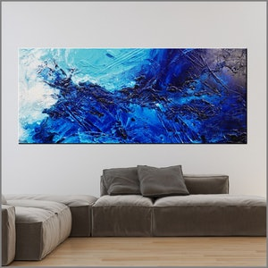 (CreativeWork) Oceans Oasis 240cm x 100cm Blue White Textured Acrylic Abstract Gloss Finish FRANKO by _Franko _. arcylic-painting. Shop online at Bluethumb.