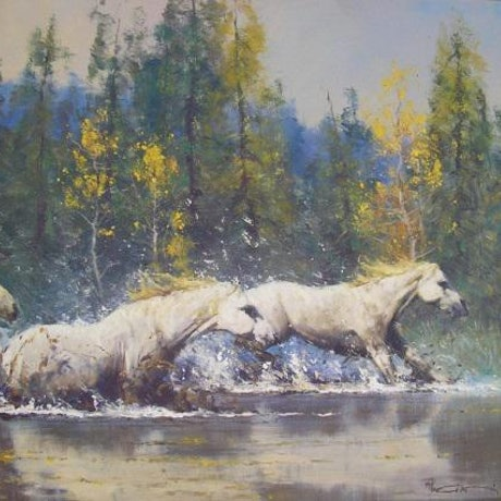 (CreativeWork) MIDDAY RUN - Investment art by Robert Hagan. Oil Paint. Shop online at Bluethumb.
