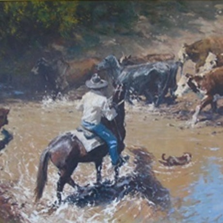 (CreativeWork) 'EASY CROSSING' - Magnificent Investment artwork. by Robert Hagan. Oil Paint. Shop online at Bluethumb.