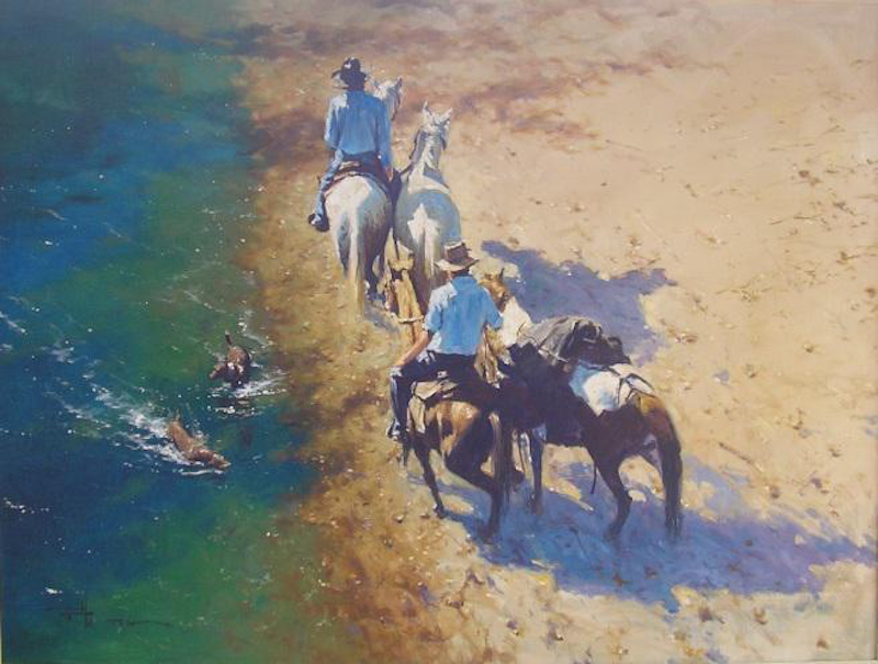 (CreativeWork) 'COOLING OFF' by ROBERT HAGAN  HIGHLY COLLECTIBLE by Robert Hagan. Oil Paint. Shop online at Bluethumb.