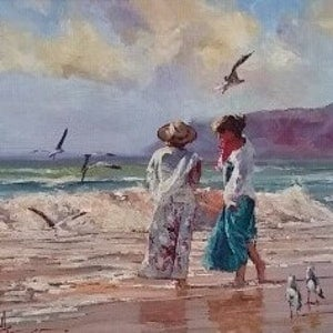 (CreativeWork) JUST US AND THE GULLS by Robert Hagan. oil-painting. Shop online at Bluethumb.