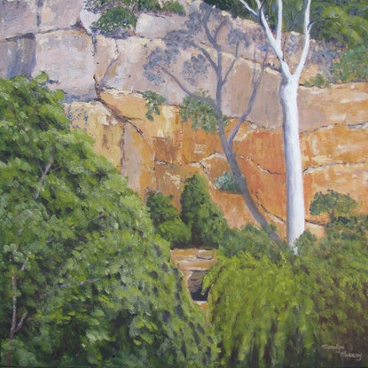 (CreativeWork) Cania Gorge Queensland by Marilyn Murray. Acrylic Paint. Shop online at Bluethumb.