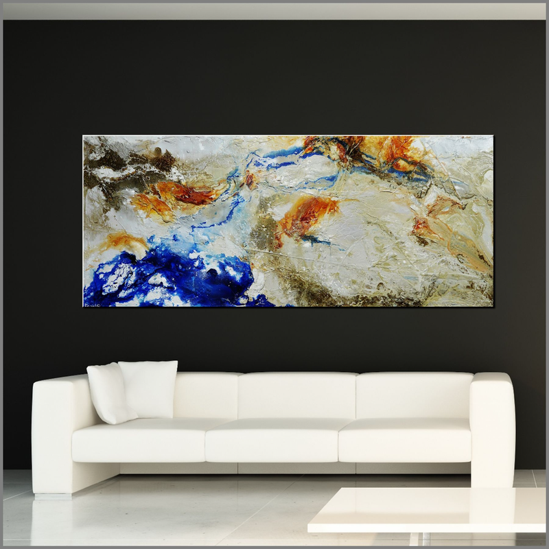 (CreativeWork) Rusted Outback 240cm x 100cm Blue Cream Textured Acrylic Abstract Gloss Finish FRANKO  by _Franko _. arcylic-painting. Shop online at Bluethumb.