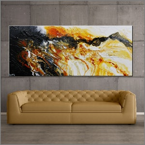 (CreativeWork) Sienna Storm 240cm x 100cm Sienna Black White Textured Acrylic Abstract Gloss Finish FRANKO  by _Franko _. arcylic-painting. Shop online at Bluethumb.