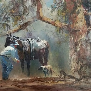 (CreativeWork) JOB WELL DONE by Robert Hagan. oil-painting. Shop online at Bluethumb.