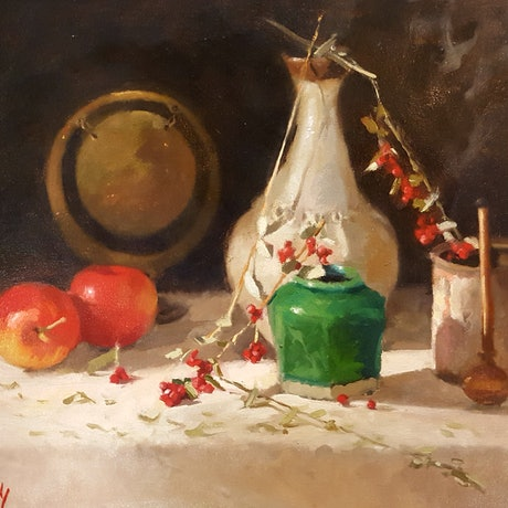 (CreativeWork) Still Life With Autumn Fruits by Jeffrey Murphy. Oil Paint. Shop online at Bluethumb.