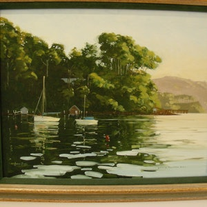 (CreativeWork) Dawn, Elvina Bay, Pittwater by Lance Ross. oil-painting. Shop online at Bluethumb.