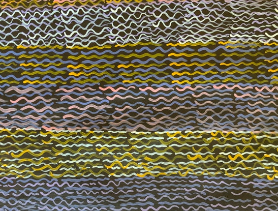 (CreativeWork) Weaving Design by Miriam Byrnes. Acrylic Paint. Shop online at Bluethumb.