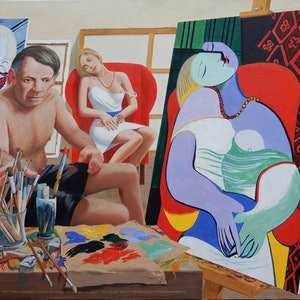 (CreativeWork) Pablo Picasso, 50, paints his muse Marie-Therese Walter, 22, in 1932, entitled 'Le Reve' (The Dream) by Lance Ross. oil-painting. Shop online at Bluethumb.