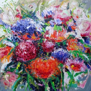 (CreativeWork) MOTHERS' DAY FLOWERS by Maureen Finck. oil-painting. Shop online at Bluethumb.