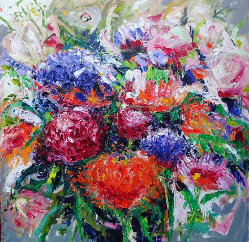 (CreativeWork) MOTHERS' DAY FLOWERS by Maureen Finck. Oil Paint. Shop online at Bluethumb.