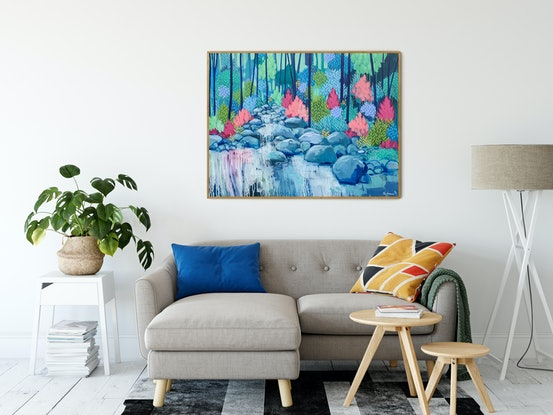 (CreativeWork) On Our Journey, expressionist landscape by Clair Bremner by Clair Bremner. Acrylic Paint. Shop online at Bluethumb.