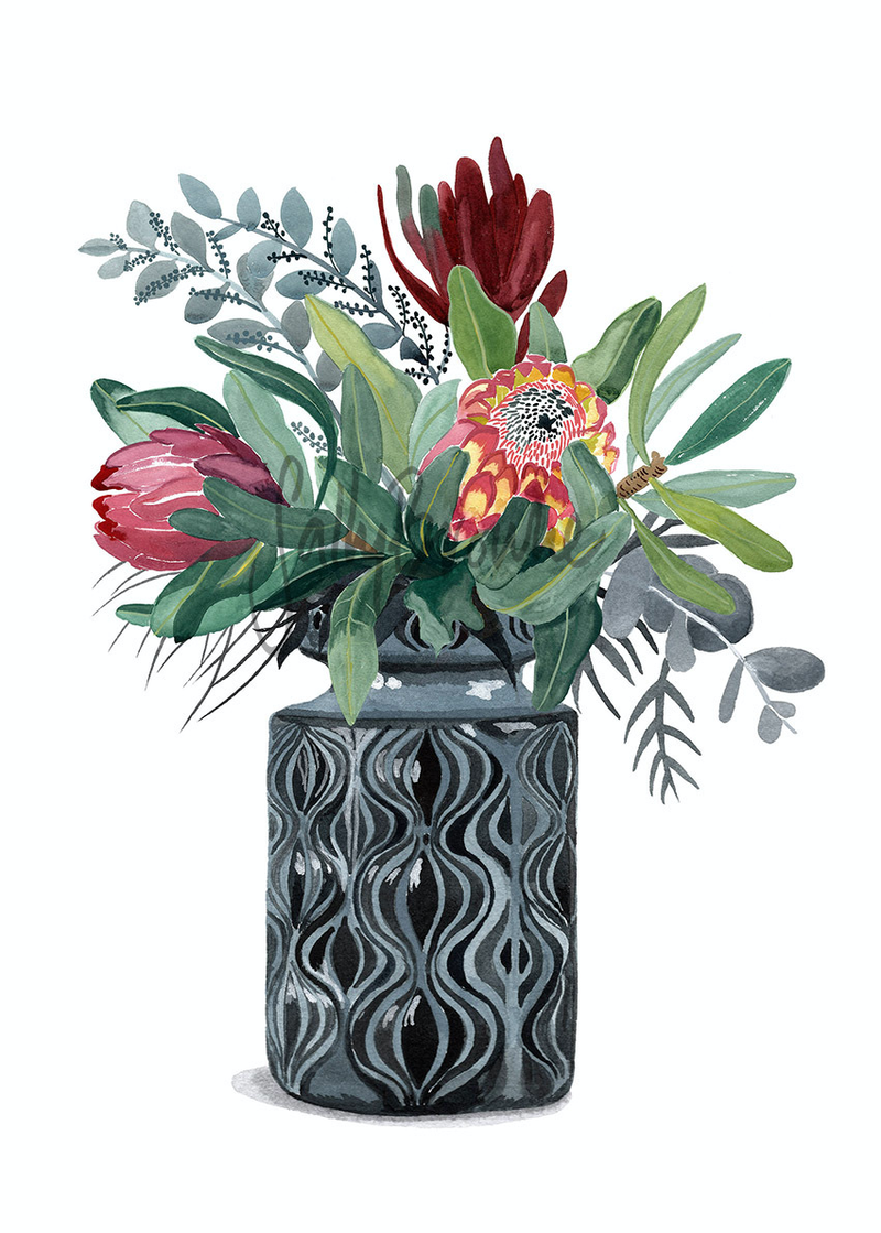 (CreativeWork) Proteas and Natives in Grey Onion Vase Ed. 9 of 100 by Sally Browne. print. Shop online at Bluethumb.