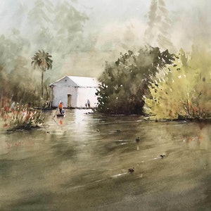 (CreativeWork) Royal Botanical Gardens, Melbourne by Kanag Janakan. watercolour. Shop online at Bluethumb.