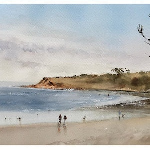 (CreativeWork) Walk in the beach - Torquay by Kanag Janakan. watercolour. Shop online at Bluethumb.