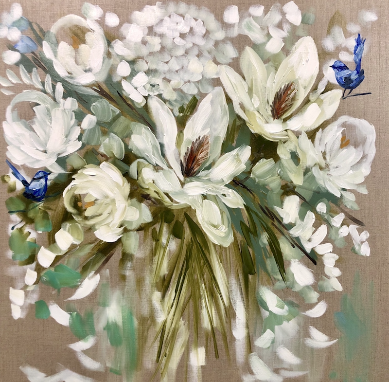 (CreativeWork) Magnolia blooms and blue wrens by Amanda Brooks. arcylic-painting. Shop online at Bluethumb.
