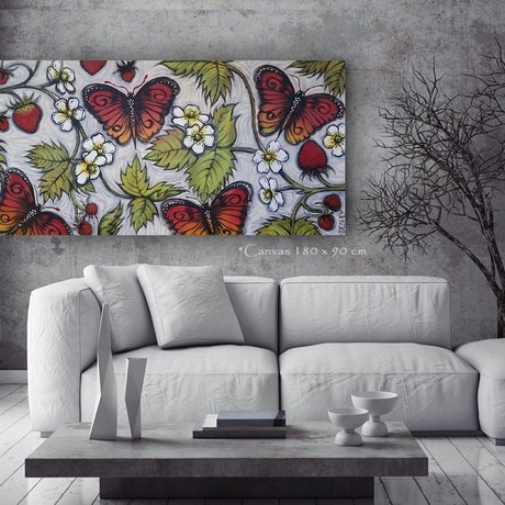 (CreativeWork) Strawberries and Queens -183 x 90cm Red Green  Black White Abstract Acrylic Nature Landscape Flowers Butterfly by Desley Wilson. Acrylic Paint. Shop online at Bluethumb.