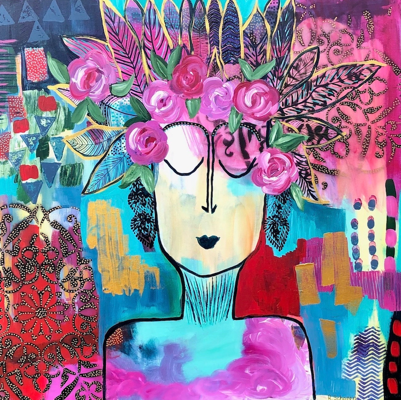 (CreativeWork) Grow In Grace (Among the Roses) by Bec Schopen. Acrylic Paint. Shop online at Bluethumb.
