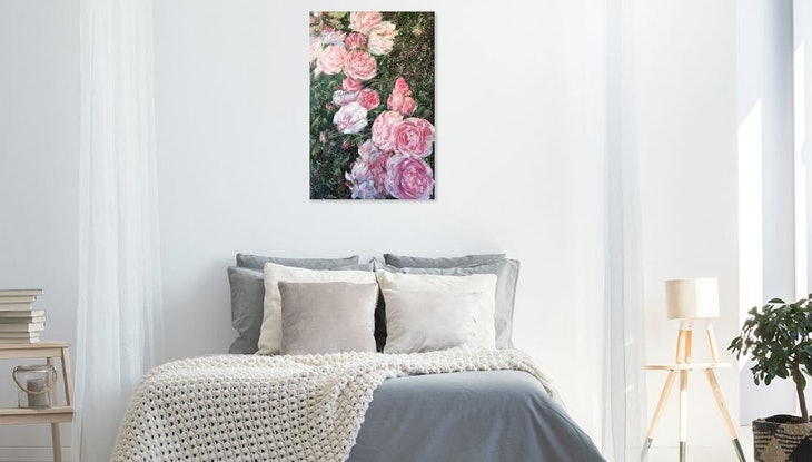 (CreativeWork) To Love Fiercely And Fearlessly - Peony Roses by HSIN LIN. Acrylic Paint. Shop online at Bluethumb.