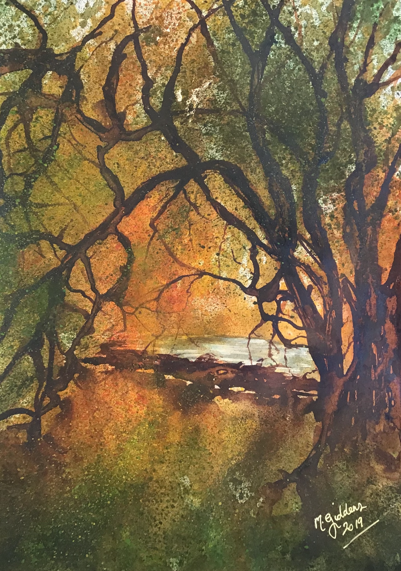(CreativeWork) Tree at Coburg Merri Creek  by Michael Giddens. watercolour. Shop online at Bluethumb.