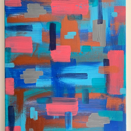 (CreativeWork) Bronzed Blues by Rhianna Fox. Acrylic Paint. Shop online at Bluethumb.