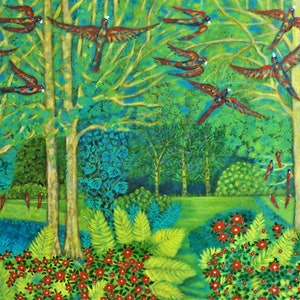 (CreativeWork) Birds  in a garden by Catherine Walker. arcylic-painting. Shop online at Bluethumb.