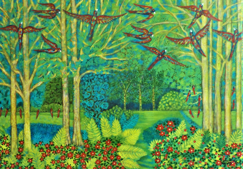 """(CreativeWork) """"Birds  in a garden"""" by Catherine Walker. #<Filter:0x00007f1f968eed58>. Shop online at Bluethumb."""
