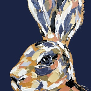 (CreativeWork) The Purple Velveteen Hare by Lisa Fahey. arcylic-painting. Shop online at Bluethumb.