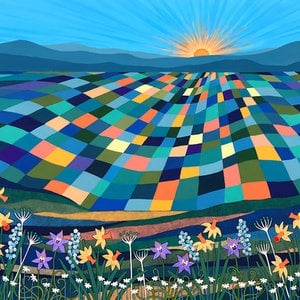 (CreativeWork) Bright Sun Shiny Day  by Lisa Frances Judd. arcylic-painting. Shop online at Bluethumb.
