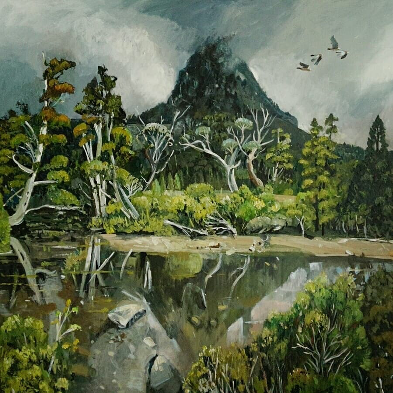 (CreativeWork) Australiania landscape  - Around Cradle Mountain by Susan Trudinger. acrylic-painting. Shop online at Bluethumb.