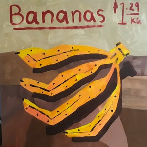 (CreativeWork) Bananas Market  by Katherine Warburton. arcylic-painting. Shop online at Bluethumb.